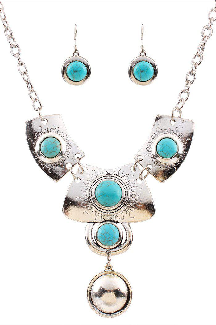 Chic Turquoise Ethnic Necklace and Earrings For Women - SILVER