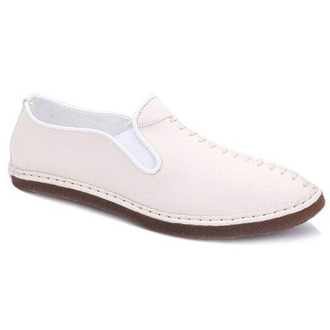 Stylish Solid Color and Elastic Design Men's Casual Shoes - WHITE 42