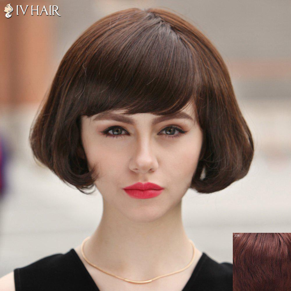 Fashion Short Side Bang Fluffy Wavy Tail Adduction Siv Hair Capless Human Hair Wig For Women - DARK AUBURN BROWN