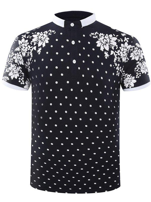 Casual Turn-Down Collar Polka Dots Floral Printed Short Sleeve Polo T-Shirt For Men - CADETBLUE L