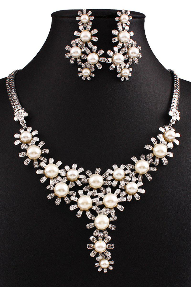 Flower Faux Pearl Necklace and Earrings - WHITE