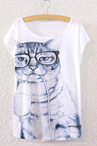 Chic Short Sleeve Scoop Neck Loose-Fitting Kitten Print Women's T-Shirt