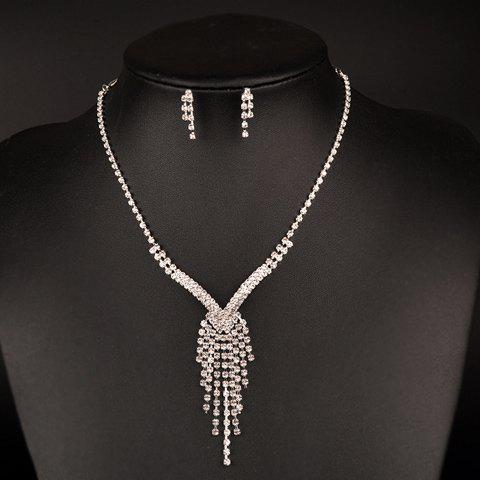 A Suit of Gorgeous Irregular Rhinestoned Tassel Necklace and Earrings For Women - SILVER