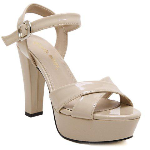 Concise Platform and Chunky Heel Design Women's Sandals - APRICOT 39