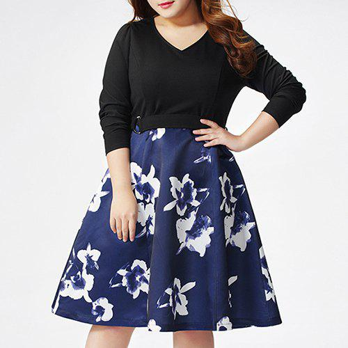 Graceful Plus Size V-Neck Full Sleeve Hit Color Print Dress For Women