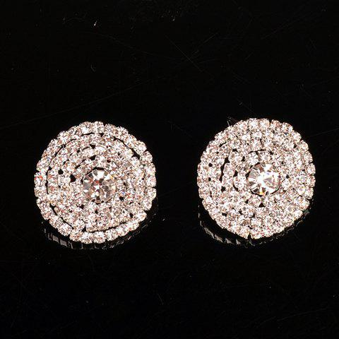 Pair of Gorgeous Rhinestoned Vortex Round Earrings For Women - SILVER