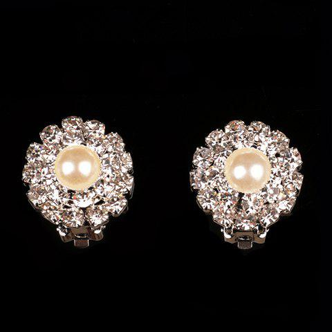 Rhinestoned Flower Fake Pearl Earrings - SILVER