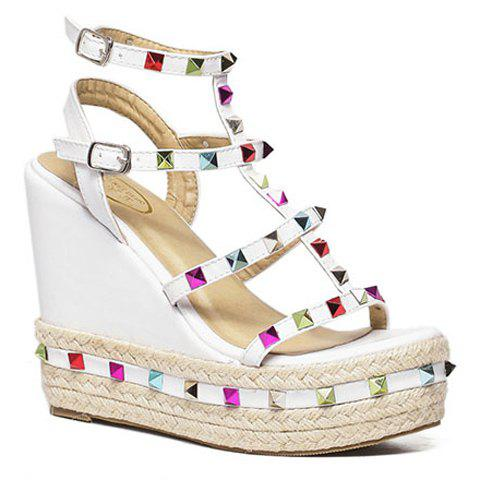 Trendy Colorful Rivet and Wedge Heel Design Womens SandalsShoes<br><br><br>Size: 38<br>Color: WHITE