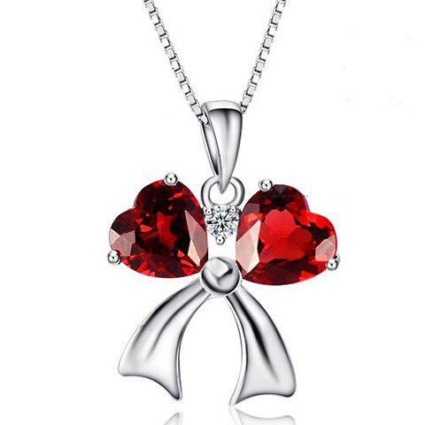 Faux Ruby Bowknot Heart Necklace - RED