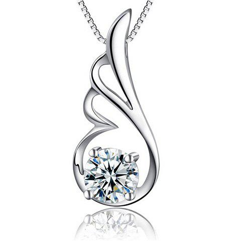 Rhinestone Wing Pendant Necklace - SILVER