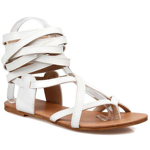 Casual Solid Colour and Cross Straps Design Women's Sandals - WHITE 36