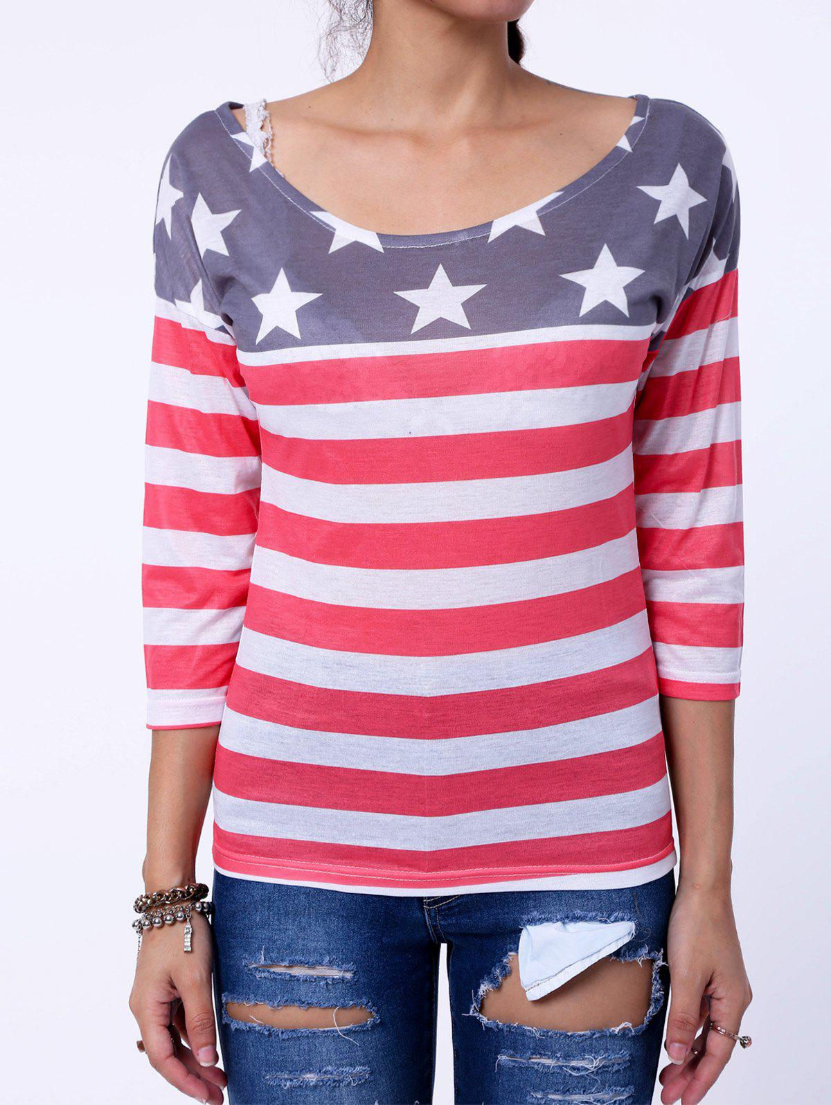 Stylish Scoop Collar Long Sleeve Star Print Striped Women's T-Shirt - RED XL
