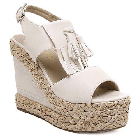 Stylish Tassels and Weaving Design Women's Sandals - OFF WHITE 39