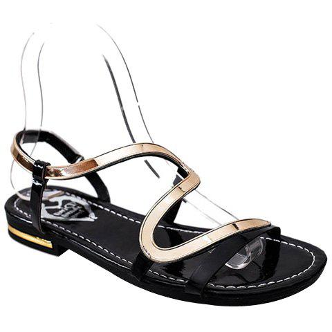 Leisure Metallic and Flat Heel Design Women's Sandals