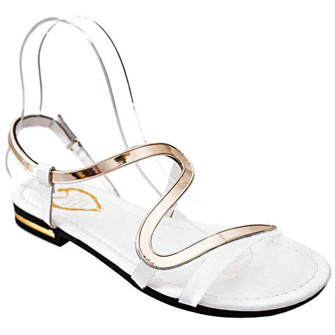 Leisure Metallic and Flat Heel Design Women's Sandals - WHITE 36