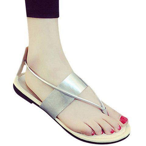 Casual Slip-On and Flat Heel Design Women's Sandals - SILVER 36