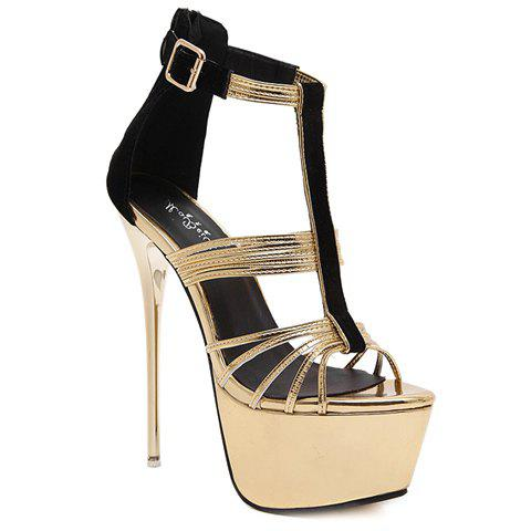 Fashionable Splicing and T-Strap Design Women's Sandals - GOLDEN 34