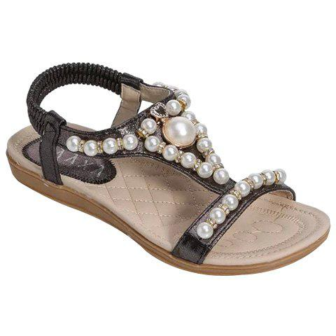 Trendy Faux Pearl and Flat Heel Design Women's Sandals