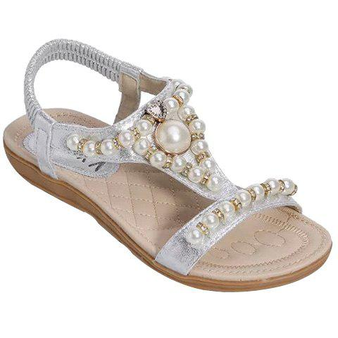 Trendy Faux Pearl and Flat Heel Design Women's Sandals - SILVER 38