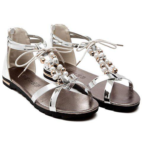 Leisure Beading and T-Strap Design Women's Sandals - 37 SILVER