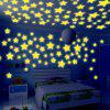 100PCS Fashion Luminous Shinning Star Pattern 3D Wall Sticker For Bedroom Ceiling Decoration - YELLOW