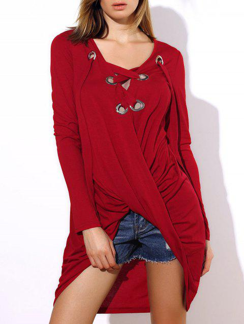 Stylish V-Neck Long Sleeve Asymmetrical Women's T-Shirt - RED ONE SIZE(FIT SIZE XS TO M)