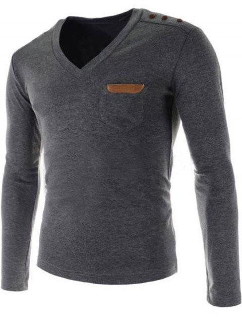 V-Neck Buttons Embellished PU-Leather Edging Long Sleeve Men's T-Shirt - GRAY XL