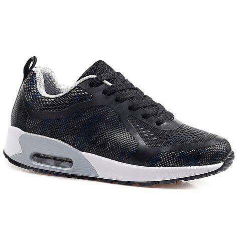 Fashionable Black and Mesh Design Women's Sneakers - BLACK 39