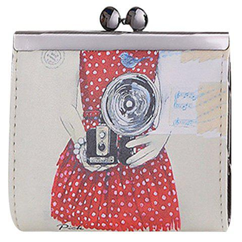 Stylish Figure Print and PU Leather Design Women's Coin Purse - OFF WHITE