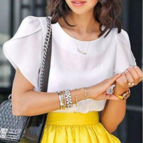 Plus Size Brief Round Neck Short Ruffled Sleeve Pure Color Women's Shirt - WHITE 4XL