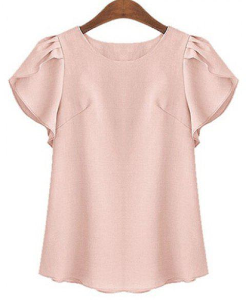 Plus Size Brief Round Neck Short Ruffled Sleeve Pure Color Women's Shirt - SHALLOW PINK XL