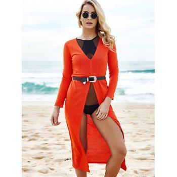 Alluring Women's Plunging Neck 3/4 Sleeve High Slit Maxi Dress - RED S