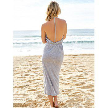 Sexy V-Neck Sleeveless High Slit Backless Women's Taupe Dress - GRAY GRAY