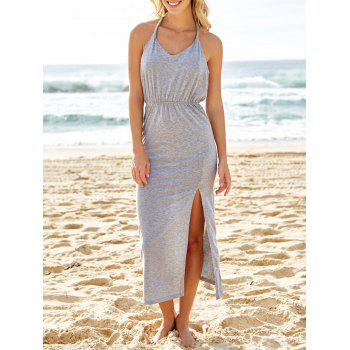 Sexy V-Neck Sleeveless High Slit Backless Women's Taupe Dress