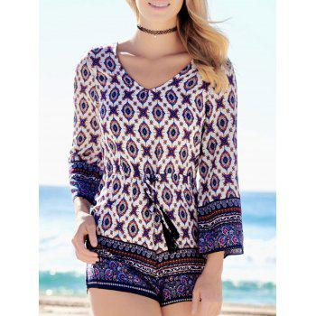 Plunging Neck Graphic Long Sleeve Romper - COLORMIX L
