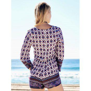 Plunging Neck Graphic Long Sleeve Romper - COLORMIX XL