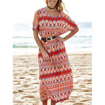 Stylish Scoop Neck Short Sleeve Cut Out Printed Women's Dress - COLORMIX S