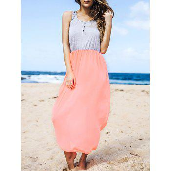 Stylish U Neck Sleeveless Color Block Button Design Women's Dress