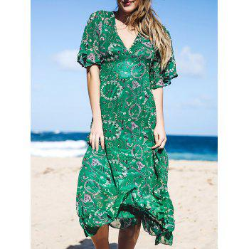 Charming Green V-Neck Printed Ruffled Hem 3/4 Bell Sleeve Maxi Dress For Women