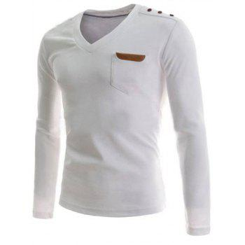 V-Neck Buttons Embellished PU-Leather Edging Long Sleeve Men's T-Shirt