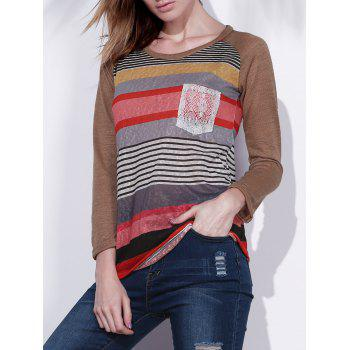 Women's Colorful Scoop Neck Asymmetrical Long Sleeve T-Shirt