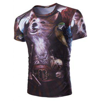 Casual Fox Printed Men's Short Sleeves T-Shirt