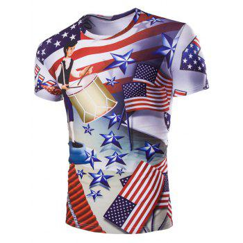 Casual Stars Printed Men's Short Sleeves T-Shirt