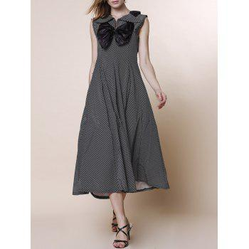 Noble V-Neck High Waist Bowknot Spliced Pleated Midi Dress For Women