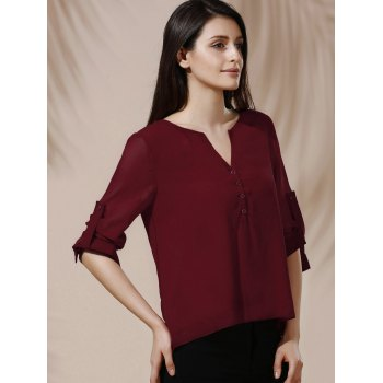 V-Neck Button Design Long Sleeve Blouse For Women - WINE RED S