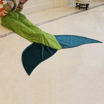 Chic Quality Comfortable Flannel Mermaid Tail Shape Blanket -  GREEN