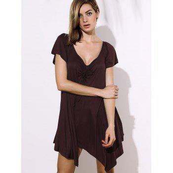 Stylish Square Neck Short Sleeve Asymmetrical Solid Color Women's Blouse - DEEP BROWN DEEP BROWN