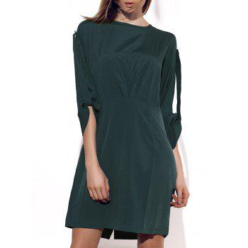 Elegant Solid Color 3/4 Sleeve Back Zippered Mini Dress For Women