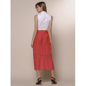 Stylish A-Line Spliced Solid Color Women's Beach Skirt - RED ONE SIZE(FIT SIZE XS TO M)