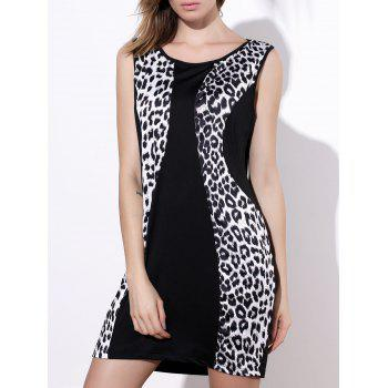 Sexy Jewel Neck Sleeveless Leopard Print Bodycon Dress For Women